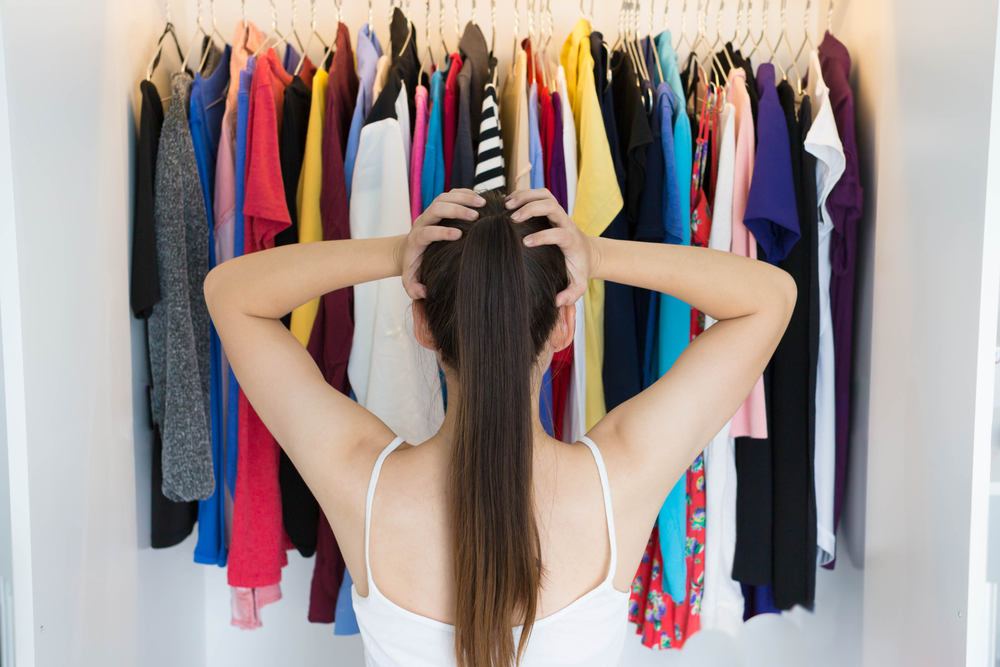 Woman figuring out what to wear to a job interview
