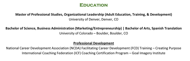 Resume Education Section Example