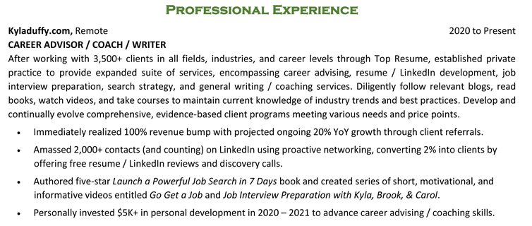 Resume professional experience example