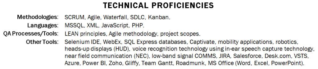 Resume Technical Proficiencies Section